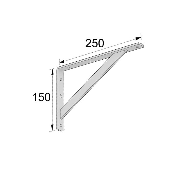 HEAVY DUTY SHELF BRACKET 250x150mm/320kg  WHITE
